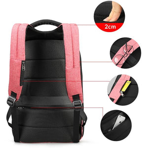 All Features on a Pink Women's Anti Pickpocket Backpack