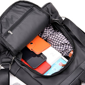 inside compartment of women's anti theft backpack purse
