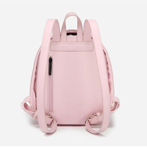 back side of pink Anti Theft Backpack for Women  -  Pickpocket Proof Bag