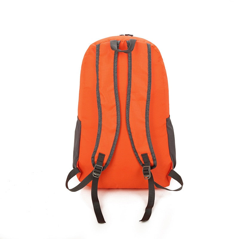 Nylon Packable Backpack 25L with pockets - orange back view