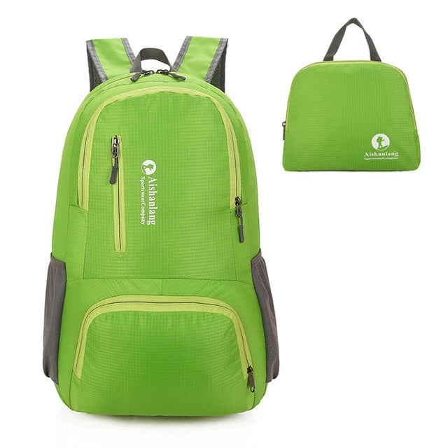 Nylon Packable Backpack 25L with pockets - Green