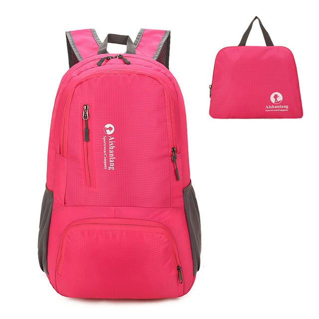 Nylon Packable Backpack 25L with pockets - Pink