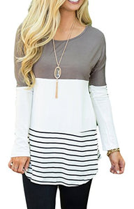Long Sleeve Back Lace Color Block Top