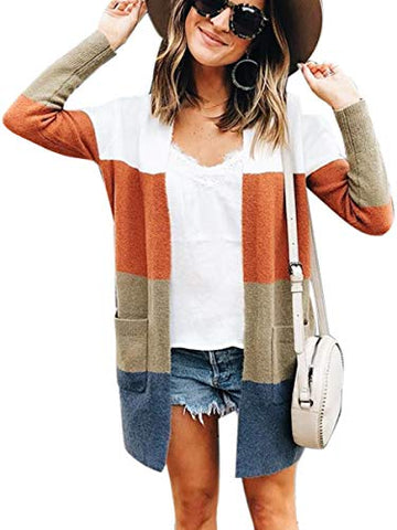 Color Block Striped Draped Kimono Cardigan