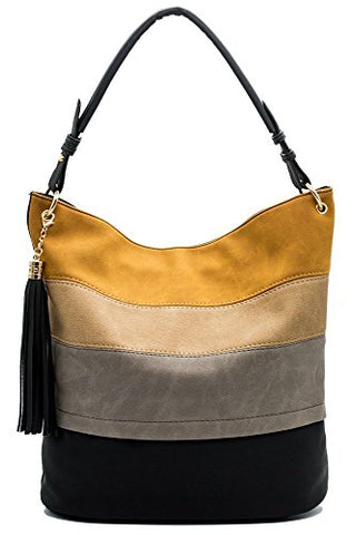 Striped Hobo Shoulder Bag with Tassels