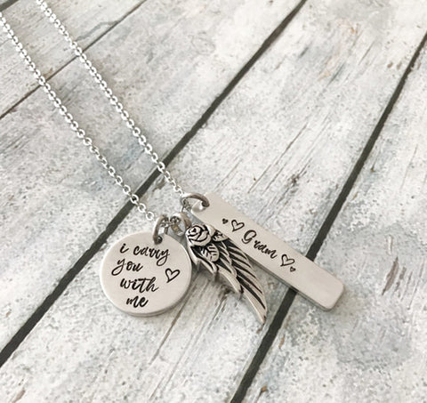 Urn necklace - Cremation jewelry - Hand stamped