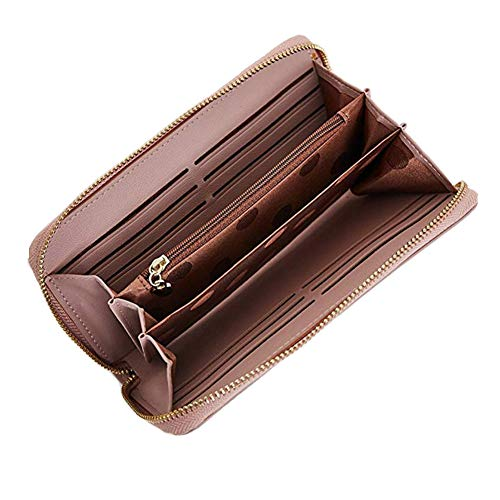 Leather Zip Around Large Organizer Wallet with Wrist Strap