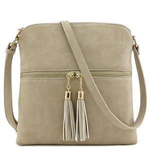 Tassel Zip Pocket Crossbody Bag