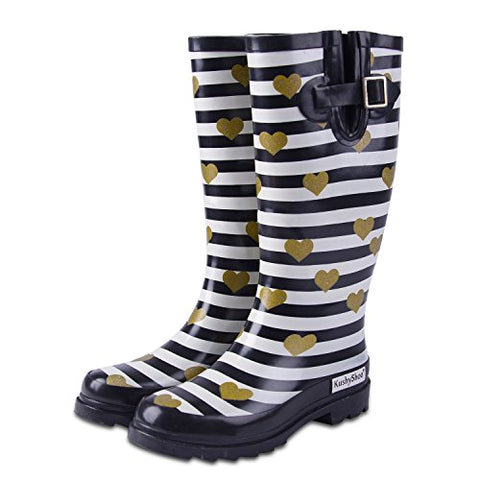 Women's Mid Calf Waterproof Rubber Rain Boots