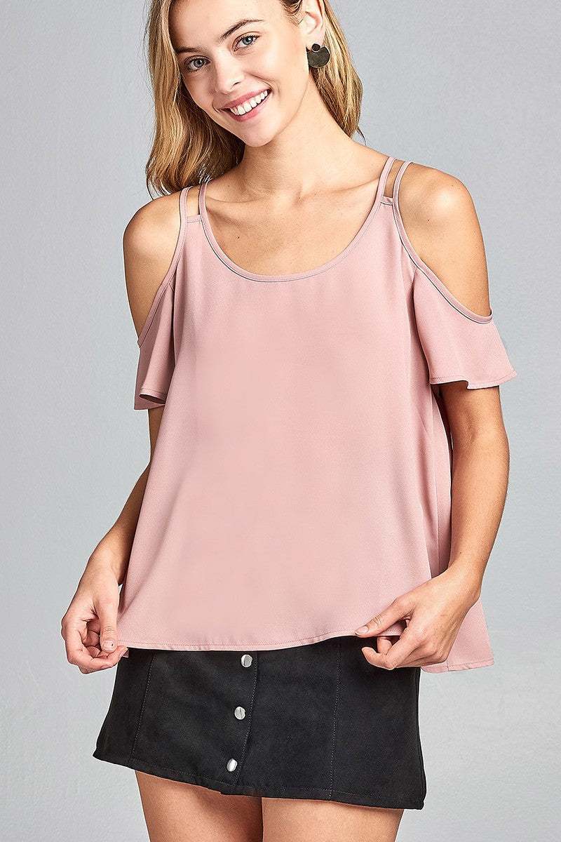 Ladies fashion open shoulder short sleeve wool dobby top