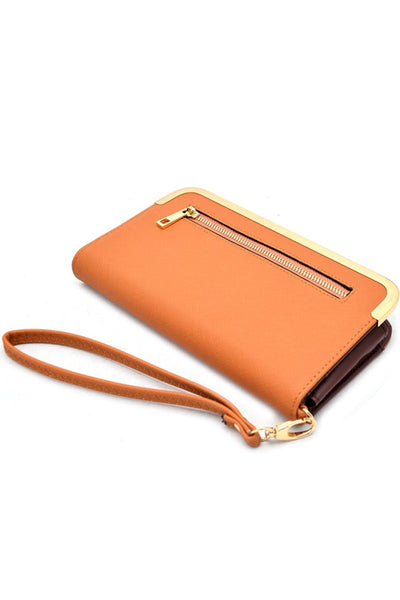 Hardware rim accent saffiano wallet and cellphone holder