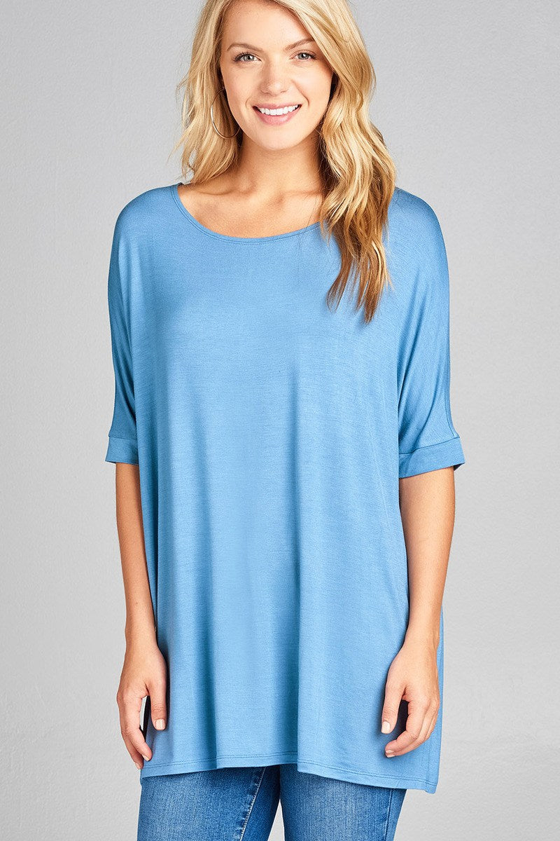 Ladies fashion elbow sleeve round neck rayon spandex jersey tunic top