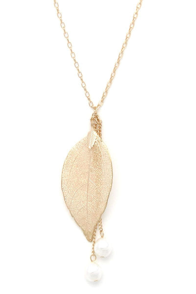 Leaf pearl pendant necklace