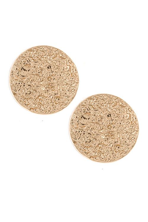 Textured round post earring