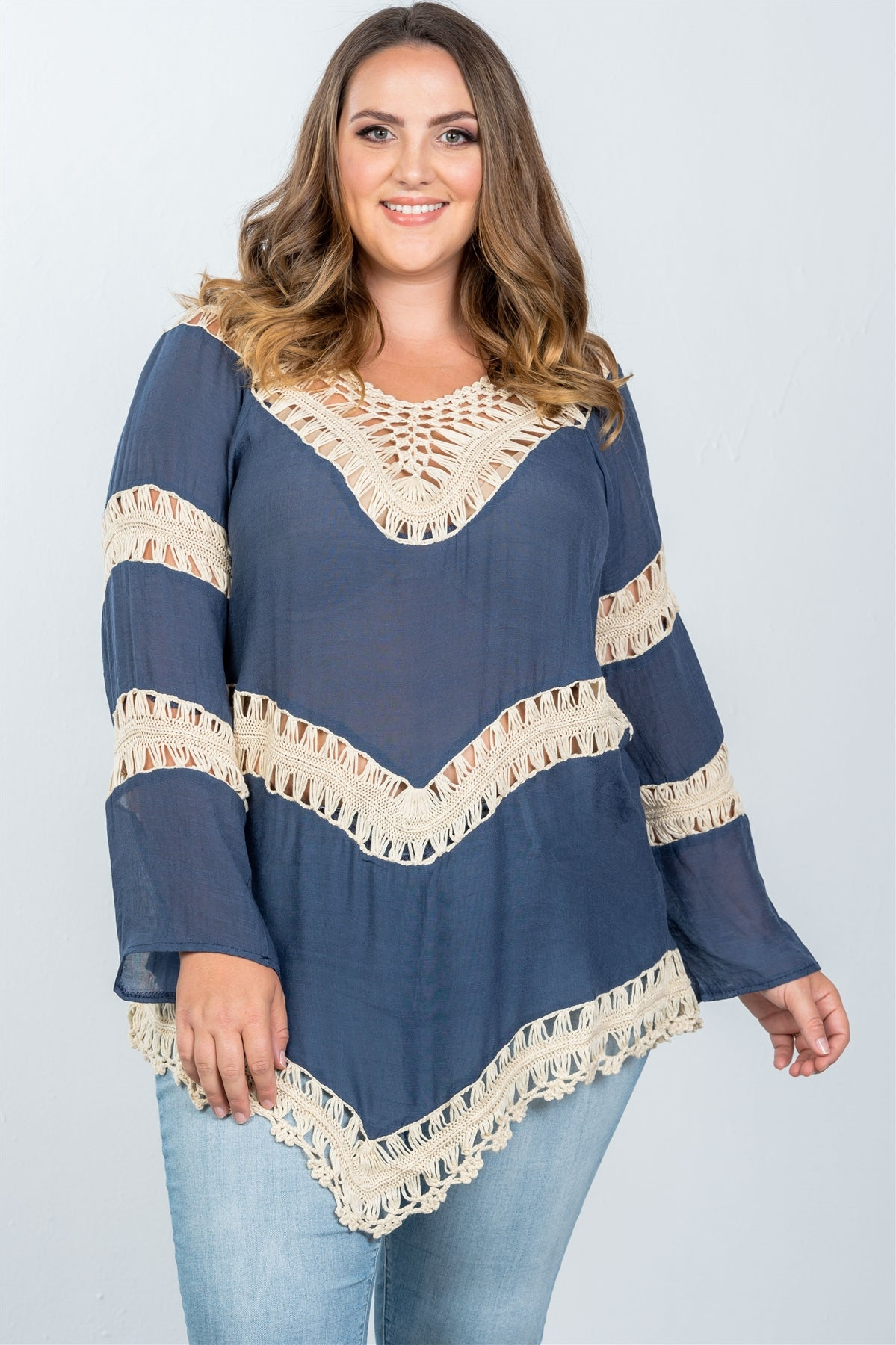 Ladies fashion plus size  boho open contrast crochet top