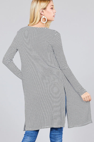 Ladies fashion plus size long sleeve open front side slit stripe tunic length rayon spandex rib cardigan
