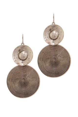 Rustic double circle drop earring