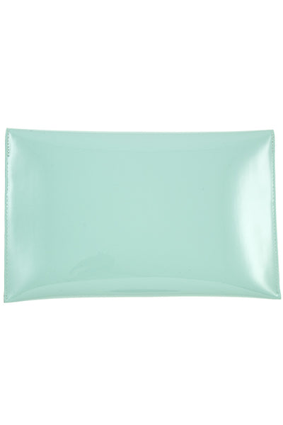 Patent envelope shape metal accent clutch bag