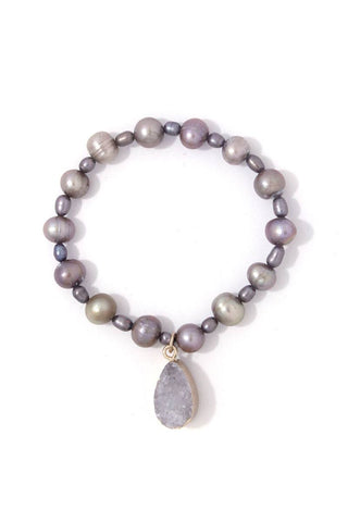 Druzy stone beaded stretch bracelet