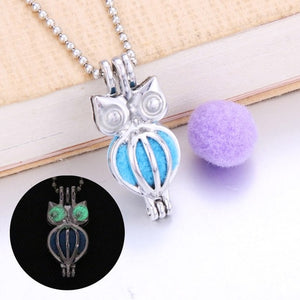 Owl Dark Luminous Necklaces Silver Color Chain