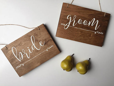 Bride and Groom Signs, Hanging Chair Signs