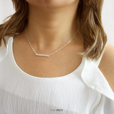 Personalized Skinny Bar Necklace, Sterling Silver,