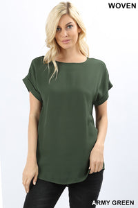 *Pre-Order* Army Green Woven Cuffed Sleeve Top