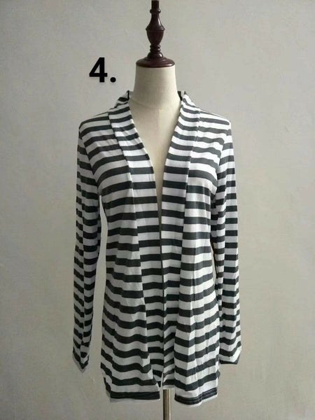 Elbow Patch Lightweight Striped Cardigan