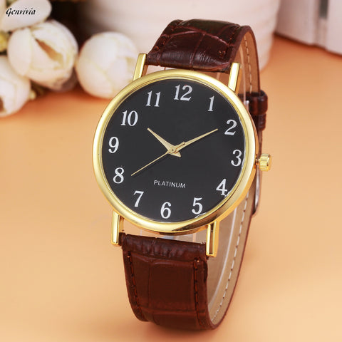 Leather Band Analog Alloy Quartz Watch