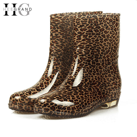 Women Rain Boots 2017 Autumn Shoes Woman Slip On Mid-Calf Motorcycle Platform Rubber Waterproof Boot Botas Feminina XWX7268