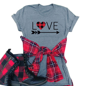 Plaid Heart LOVE Arrow Tee