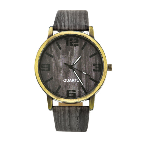 Leather Quartz Wood Grain Watch