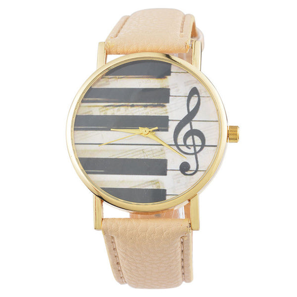 Music Note Leather Watch