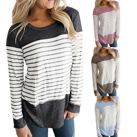 Long Sleeve Color Block Striped Shirt