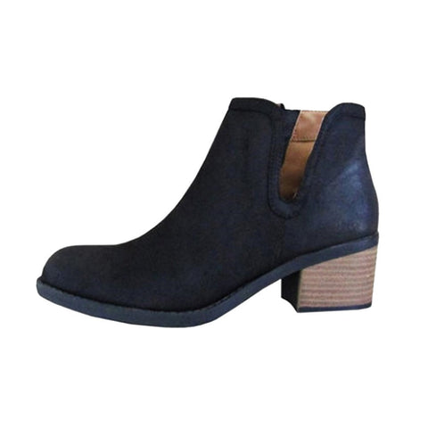 Casual Women Boot Fashion Low Heel Leather Zipper Boot