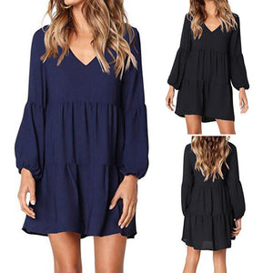 Lantern Long Sleeve V-Neck Knee-Length Dress