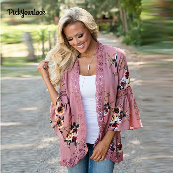 Bell Sleeve Floral Lace Trim Kimono