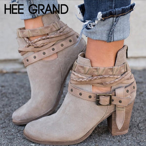 HEE GRAND Autumn Women Bandage High Heels Boots Vintage Short Boots Ankle Shoes Flock Leather Boots Mujer Shoes XWX6884