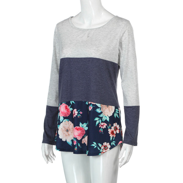 Floral Splice Shirt Round Neck Long Sleeve Top