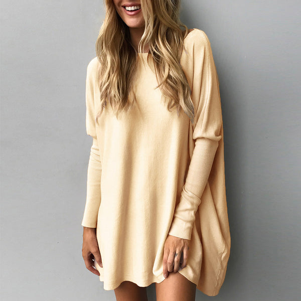 Long Sleeve Round Neck Loose Blouse Casual Tops