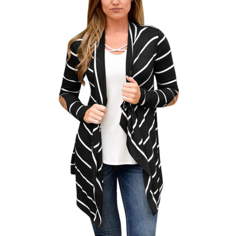 Long Sleeve Striped Elbow Patchwork Cardigan