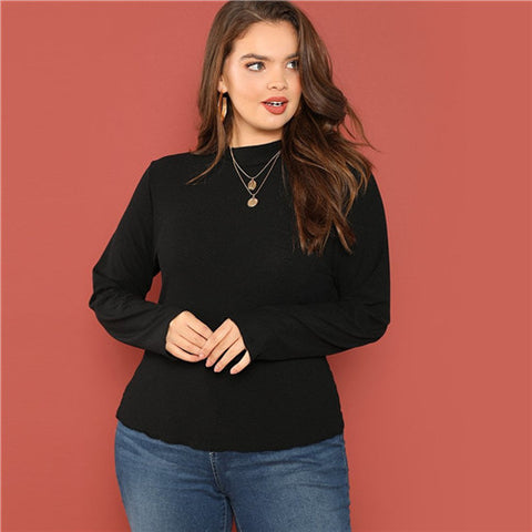 Stand Collar Ribbed Knit Slim Fit Long Sleeve Top