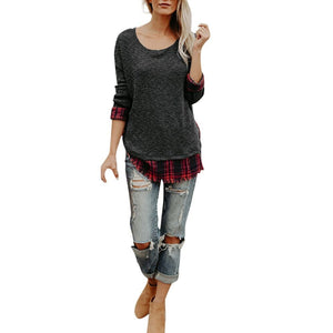 Plaid Lattice Patchwork O Neck Long Sleeve Top