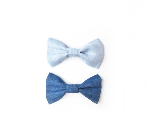 Chambray Bow Tie - Light or Dark