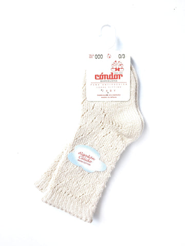 Warm Cotton Crochet Knee Socks in Linen