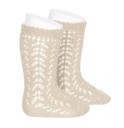 Cotton Openwork Knee-High Socks in Linen