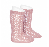 Cotton Openwork Knee-High Socks in Dusty Rose