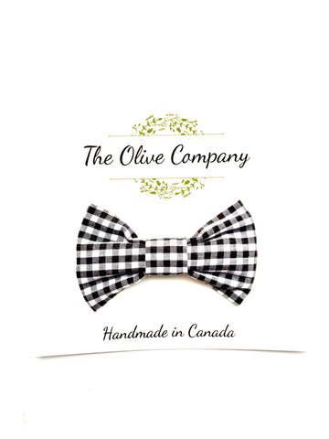 The Bear - Black and White Gingham Plaid Bowtie