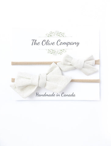 The Ollie Bow - Champagne Linen