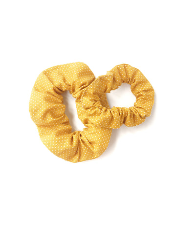Scrunchie - Mustard Polka Dot